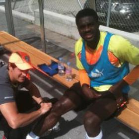 Braam working with Ivory Coast Player, Kolo Toure