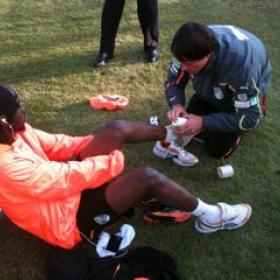 Braam working with Ivory Coast Player, Gervinho