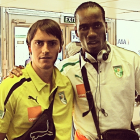 Braam working with Ivory Coast Captain, Didier Drogba